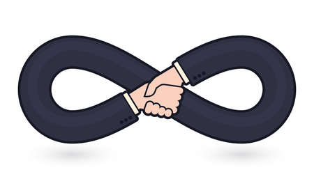 Vector symbol endless friendship. Shaking business hands. Isolated on white background.