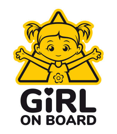 Vector symbol. Yellow triangle with the inscription: Girl on board. Picture of a little girl with ponytails. Isolated on white background.