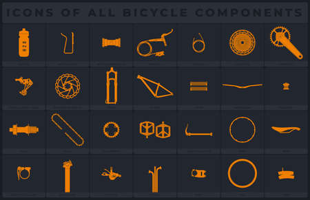 Vector icons of all bicycle components. Isolated on gray background. Illustration