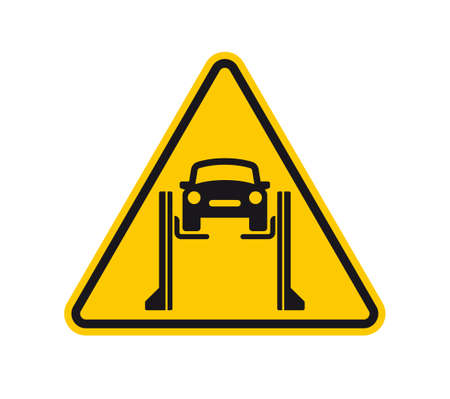 Vector triangle yellow sign danger. Car jack, danger of falling. Isolated on white background.