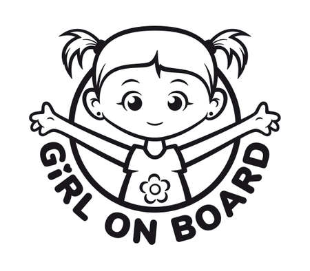 Vector black symbol with the inscription: Girl on board. Picture of a little girl with ponytails. Isolated on white background.