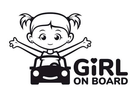 Vector black sticker. Car symbol with sitting little girl. Inscription: Girl on board. Isolated on white background.