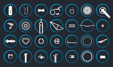 Vector circle icons of all bicycle components. Isolated on gray background. Illustration