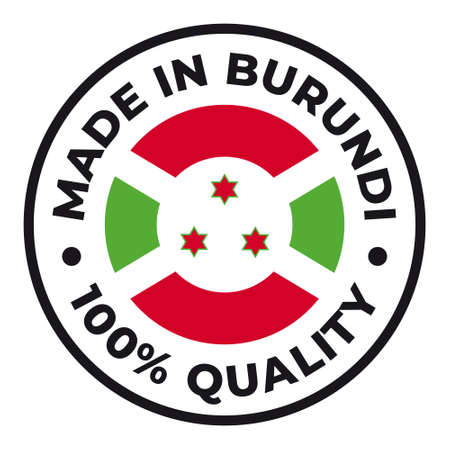 Vector circle symbol. Text Made in Burundi with flag. Stamp. Isolated on white background.  イラスト・ベクター素材