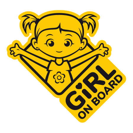 Vector symbol. Yellow rhombus with the inscription: Girl on board. Picture of a little girl with ponytails. Isolated on white background.