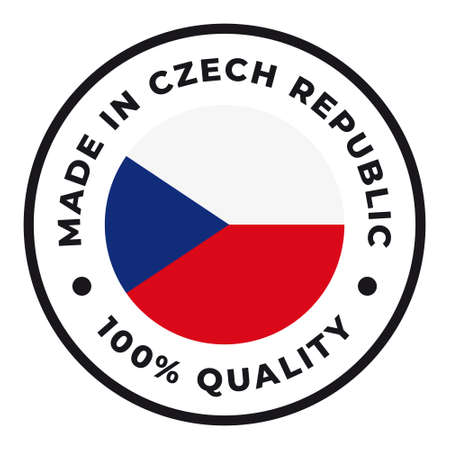 Vector circle symbol. Text Made in Czech Republic with flag. Isolated on white background.  イラスト・ベクター素材