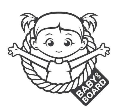 Vector black symbol. Circle with the inscription: Baby on board. Picture of a little girl with ponytails. Isolated on white background.
