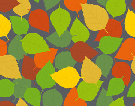 Seamless colored texture with autumn leaf theme. Dark gray background.