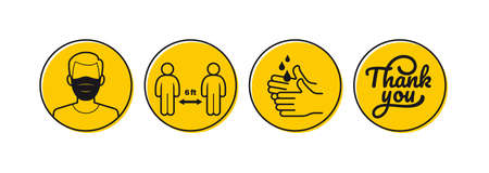 Vector sticker to the store. Thanks for following the prevention against Covid-19. Circular icons depicting coronavirus prevention.