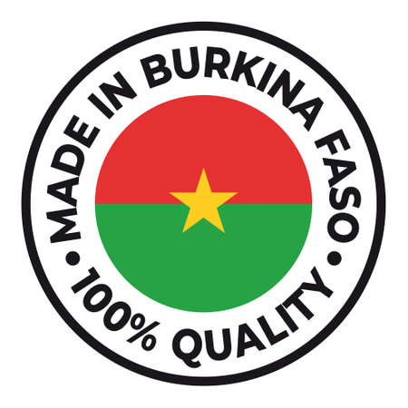 Vector circle symbol. Text Made in Burkina Faso with flag. Stamp. Isolated on white background.  イラスト・ベクター素材