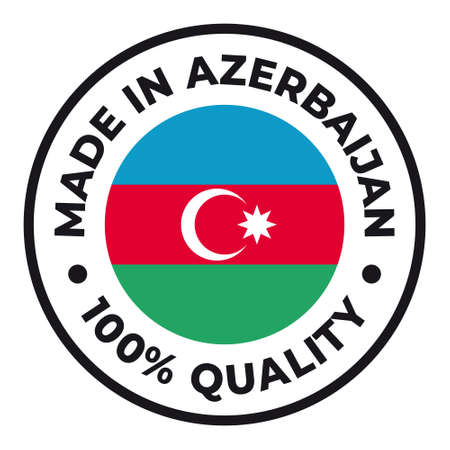 Vector circle symbol. Text Made in Azerbaijan with flag. Isolated on white background.