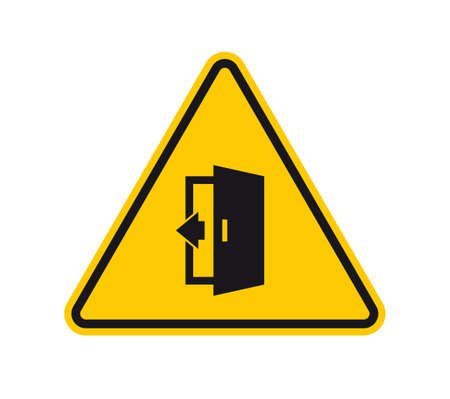 Vector triangle yellow sign danger. Figure closing door and text: Please close the door. Isolated on white background.