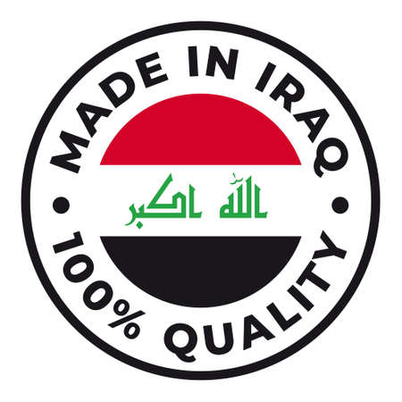 Vector circle symbol. Text Made in Iraq with flag. Isolated on white background.
