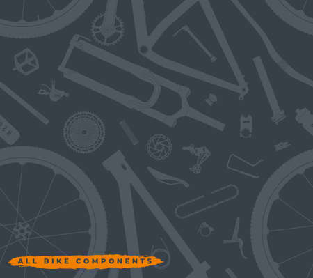 Vector seamless texture parts of which a mountain bike consists. Isolated on gray background.  イラスト・ベクター素材
