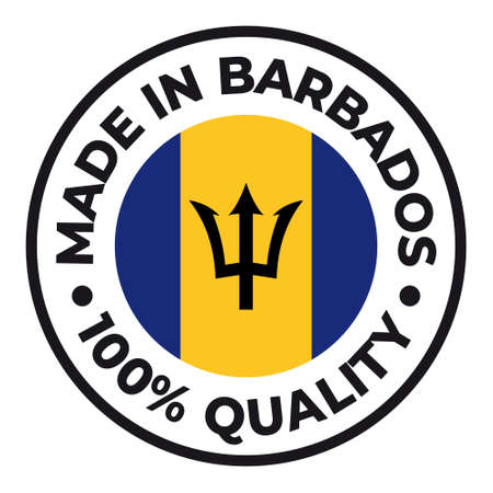 Vector circle symbol. Text Made in Barbados with flag. Stamp. Isolated on white background.