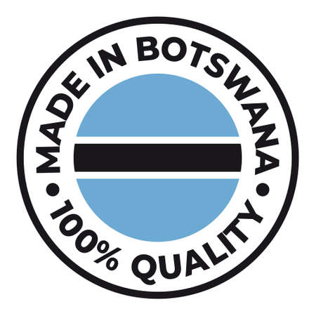 Vector circle symbol. Text Made in Botswana with flag. Stamp. Isolated on white background.
