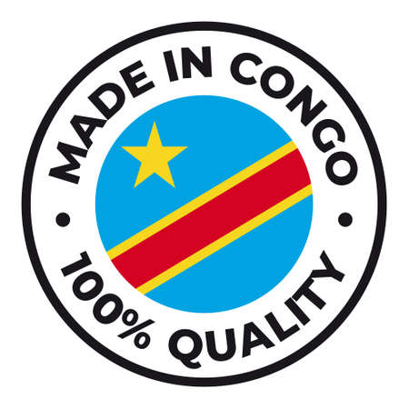 Vector circle symbol. Text Made in Congo with flag. Isolated on white background.