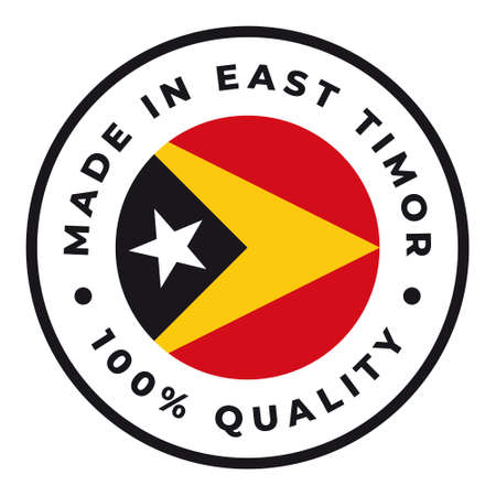 Vector circle symbol. Text Made in East Timor with flag. Isolated on white background.