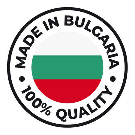 Vector circle symbol. Text Made in Bulgaria with flag. Stamp. Isolated on white background.