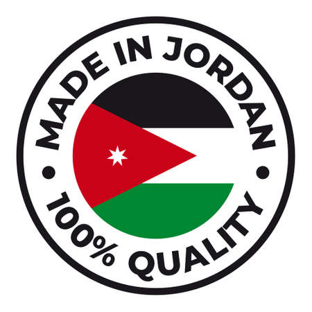 Vector circle symbol. Text Made in Jordan with flag. Isolated on white background.