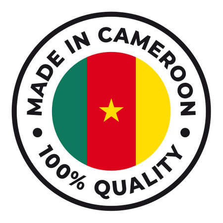 Vector circle symbol. Text Made in Cameroon with flag. Isolated on white background.