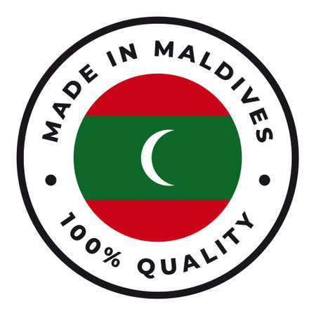 Vector circle symbol. Text Made in Maldives with flag. Isolated on white background.