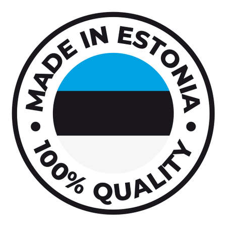 Vector circle symbol. Text Made in Estonia with flag. Stamp. Isolated on white background.