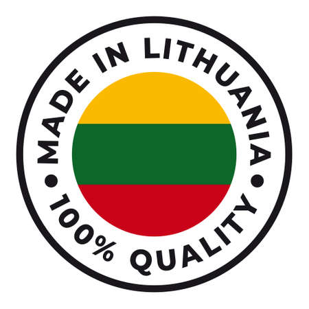 Vector circle symbol. Text Made in Lithuania with flag. Isolated on white background.