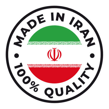 Vector circle symbol. Text Made in Iran with flag. Isolated on white background.
