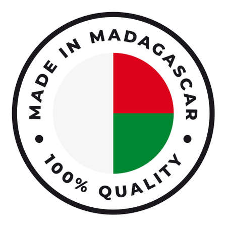 Vector circle symbol. Text Made in Madagascar with flag. Isolated on white background.