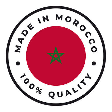 Vector circle symbol. Text Made in Morocco with flag. Isolated on white background.