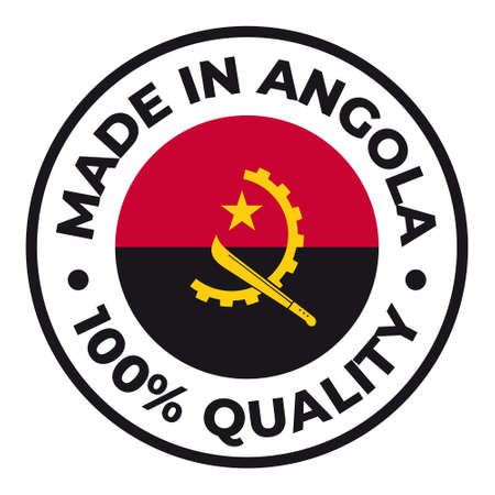 Vector circle symbol. Text Made in Angola with flag. Isolated on white background.