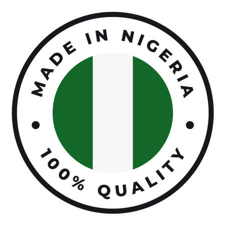 Vector circle symbol. Text Made in Nigeria with flag. Isolated on white background.