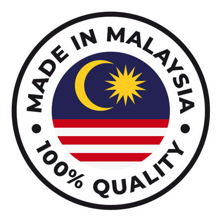 Vector circle symbol. Text Made in Malaysia with flag. Isolated on white background.