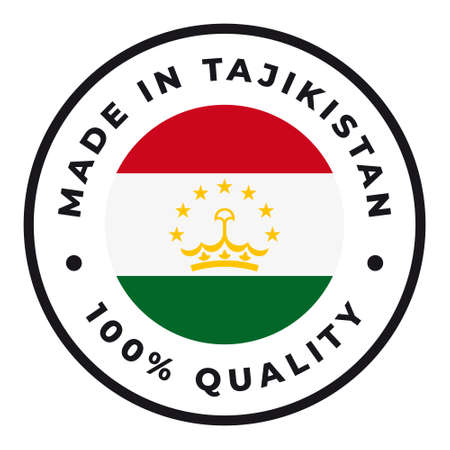 Vector circle symbol. Text Made in Tajikistan with flag. Isolated on white background.