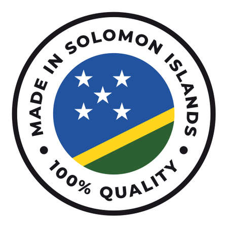 Vector circle symbol. Text Made in Solomon Islands with flag. Isolated on white background.