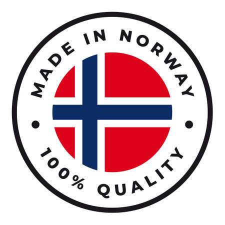 Vector circle symbol. Text Made in Norway with flag. Isolated on white background.