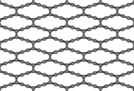 Vector seamless diagonal geometric texture realistic bicycle chain. Isolated on white background.  イラスト・ベクター素材