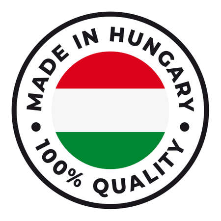 Vector circle symbol. Text Made in Hungary with flag. Isolated on white background.