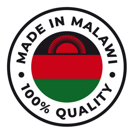 Vector circle symbol. Text Made in Malawi with flag. Isolated on white background.
