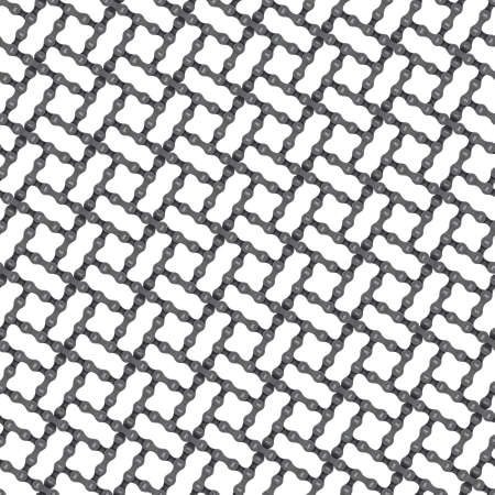 Vector seamless geometric grid texture with realistic bicycle chain. Isolated on white background.