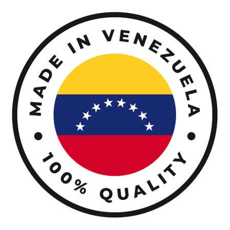 Vector circle symbol. Text Made in Venezuela with flag. Isolated on white background.