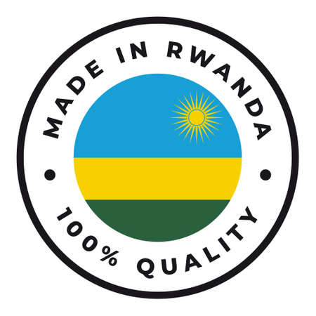 Vector circle symbol. Text Made in Rwanda with flag. Isolated on white background.