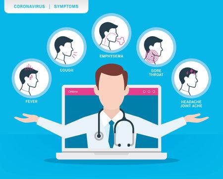 Vector infographic coronavirus symptoms icons with cartoon doctor. Adult man.