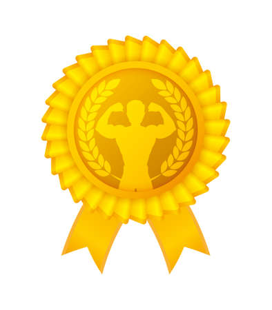 Vector gold award ribbons for bodybuilding. Winner rose with ribbons. Isolated on white background.