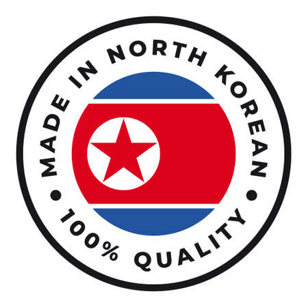Vector circle symbol. Text Made in North Korea with flag. Isolated on white background.