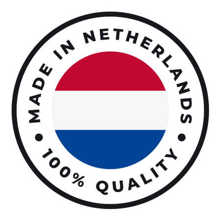 Vector circle symbol. Text Made in Netherlands with flag. Isolated on white background.  イラスト・ベクター素材