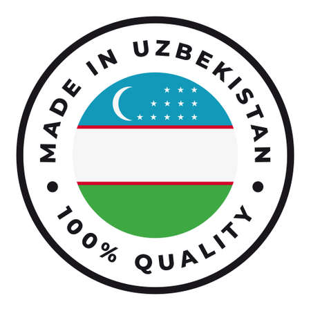 Vector circle symbol. Text Made in Uzbekistan with flag. Isolated on white background.  イラスト・ベクター素材