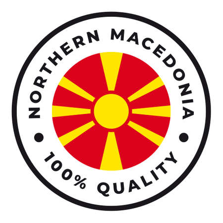 Vector circle symbol. Text Made in Macedonia with flag. Isolated on white background.  イラスト・ベクター素材