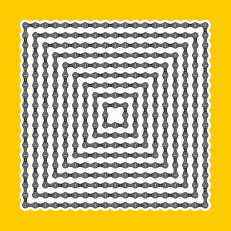 Vector squares set created by realistic bicycle chain. Isolated on yellow background. Vektorové ilustrace